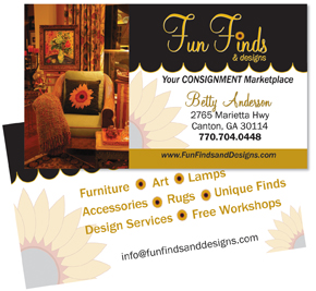 Business card design for consignment shop in Canton, GA