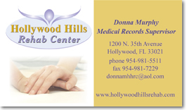 Hollywood Hills Rehab Center business card