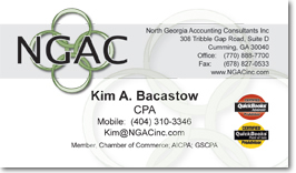 North Georgia Accounting's business cards
