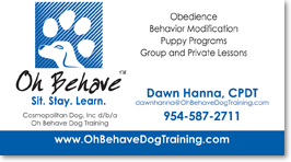 Business Card Design for Oh Behave in Fort Lauderdale Florida